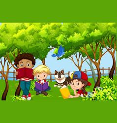 International children kids reading in the park vector
