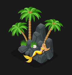 Isometric game concept of a cartoon with a vector