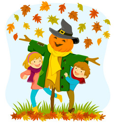 Kids and a scarecrow in autumn vector