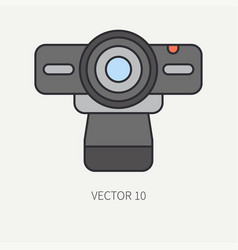 Line flat color computer part icon web vector
