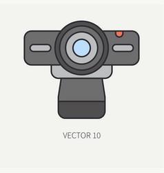 Line flat color computer part icon web vector
