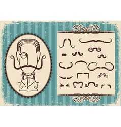 man portrait and mustaches retro vector image