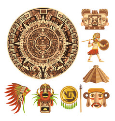 Mayan or aztec culture maya calendar mexican vector