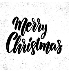merry christmas lettering phrase on grunge vector image