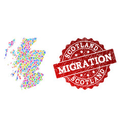 Migration collage of mosaic map of scotland and vector