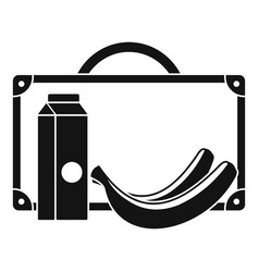 Milk and banana lunch icon simple style vector