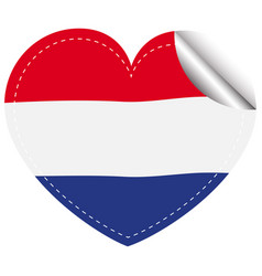 Netherlands flag in heart shape vector