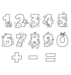numbers collection with cartoon animals vector image