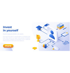 Nvest in yourself - banner layout template vector
