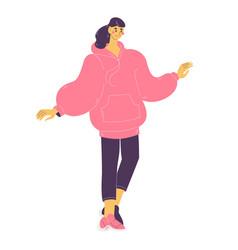 Oversize hoodie in pink color young woman happy vector