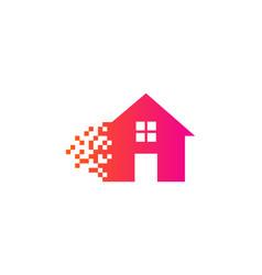Pixel house logo icon design vector