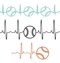 Pulse tennis ball set vector