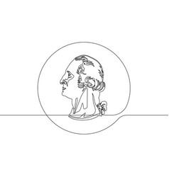 quarter us twenty-five cent washington coin contin vector image