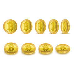realistic detailed 3d golden bitcoins set vector image