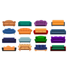 room sofa icon set cartoon style vector image