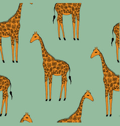 Seamless background giraffes vector