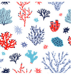 Seamless pattern with red and blue corals and vector