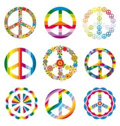 Set abstract peace symbols vector