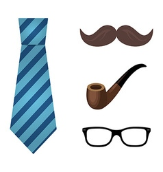 set flat icon tie glasses smoking pipe and vector image