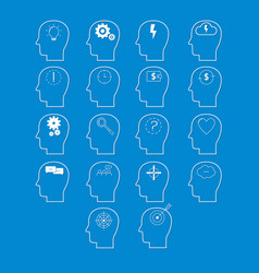 Set of brain activity icons cut from white paper vector