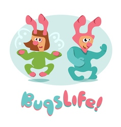 Set of cartoon bugs insects funny friendly vector