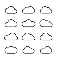 set of cloud line icon various style vector image
