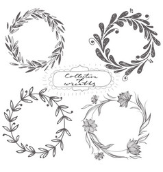Set of hand drawn wreaths vector