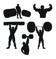 Set of male athlete powerlifter working out with vector