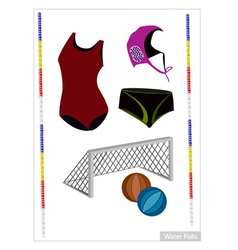 Set of Water Polo Equipment on White Background vector image
