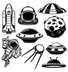 set space design elements spaceman shuttle ufo vector image