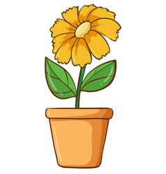 Single flower in clay pot vector