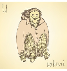Sketch fancy uakari in vintage style vector image
