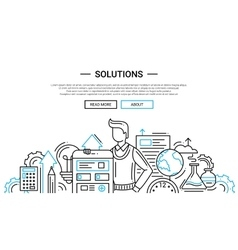 Solutions - line design website banner temlate vector image