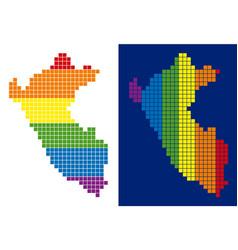 spectrum pixel dotted peru map vector image