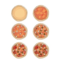 Stages of cooking pizza sketch for your design vector image