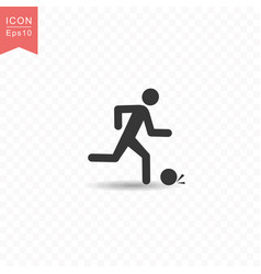 stick figure a man playing football or soccer vector image