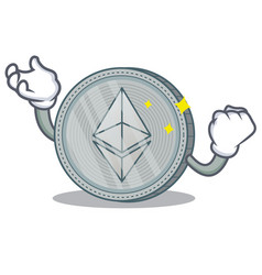 Successful ethereum coin character cartoon vector