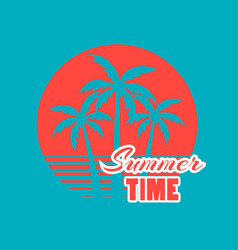 summer time 80s retro palm trees on a sunset vector image