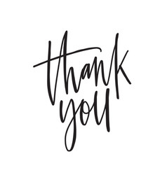 thank you ink pen lettering thankfulness vector image