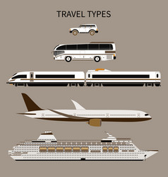 Tourist transport car bus train airplane ship vector
