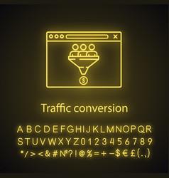 Traffic conversion neon light icon vector