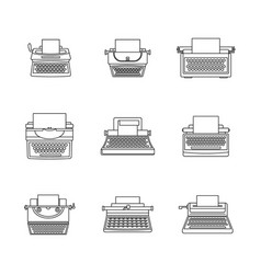 typewriter machine keys icons set outline style vector image