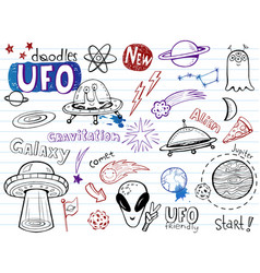 ufo aliens- doodles collection vector image