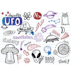 Ufo aliens- doodles collection vector