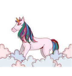 unicorn between clouds vector image