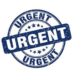Urgent blue grunge round vintage rubber stamp vector