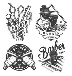 vintage monochrome barbershop emblems vector image
