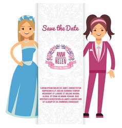 Wedding flyer girl vector