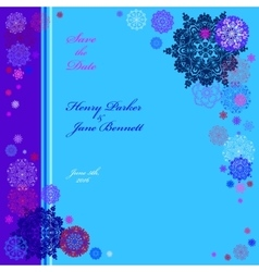 Winter wedding frame with cyan and blue snowflakes vector image