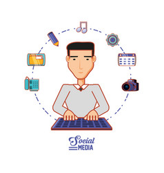 Young businessman with social media icons vector